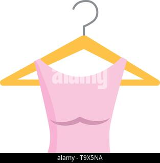 Dress and hanger design, Cloth fashion style wear shop retail and store theme Vector illustration - Stock Image