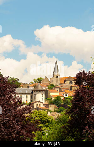 Liverdun townscape with church tower and Château Corbin, Meurthe-et-Moselle department, France, Europe - Stock Image