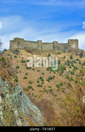 Medieval fortress Maglic on mountain cliff, Serbia - Stock Image