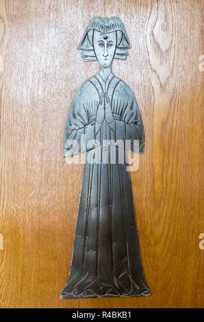 Church of Saint Lawrence, Knodishall, Suffolk, England, UK brass memorial Maud or Matlida Bokill wife of John Jenney death circa 1460 - Stock Image