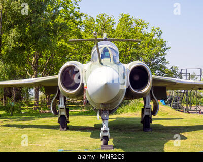 Blackburn Buccaneer carrier-borne attack aircraft that  entered service in 1962 on display at the Yorkshire Air Museum Elvington York UK - Stock Image