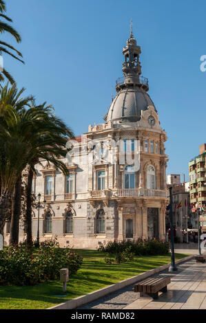 CARTAGENA, SPAIN – APRIL 12, 2017: Facade of the Town Hall of Cartagena, one of the main Modernist buildings in the city. It was built between 1900 an - Stock Image