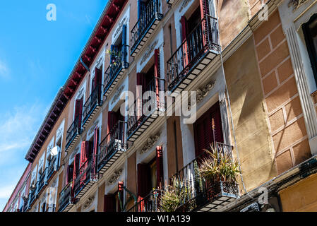 Cityscape of Malasana district in Madrid. Malasana is one of the trendiest neighborhoods in the city - Stock Image