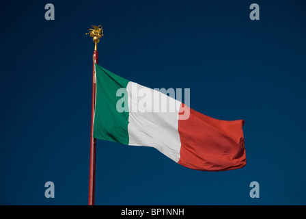 Italian flag and blue sky, St Mark's Square, Venice, Italy - Stock Image