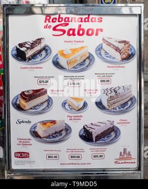 Sanborns Restaurant Cake Menu Board Mexico City - Stock Image