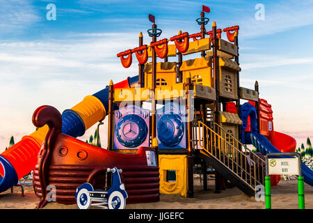 Big playground (ship) for children on the beach. Jesolo, Italy. - Stock Image