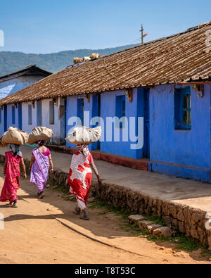 Vertical view of a tea plantation village in Munnar, India. - Stock Image