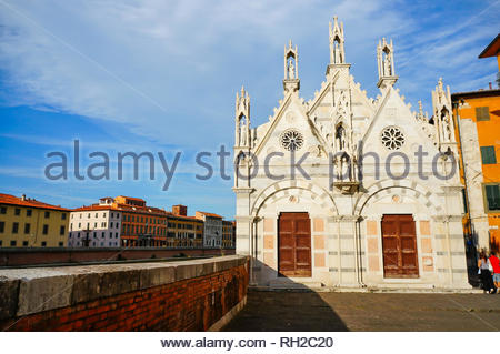 Pisa, Italy - August 21, 2014: Small wall and the - Stock Image