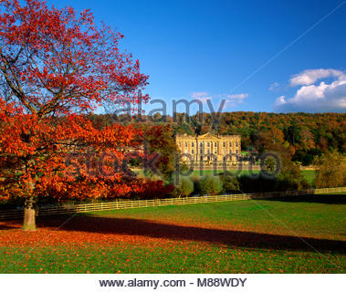 Chatsworth House in autumn,near Bakewell, Derbyshire, England, UK. - Stock Image