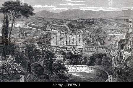 Cityscape of Rome, Italy, historical engraving, 19th Century, Stadtansicht von Rom, Italien, historischer Stich - Stock Image