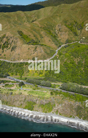 State Highway One and Paekakariki Hill Road, north of Wellington, North Island, New Zealand - aerial - Stock Image