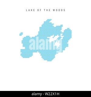 Vector Blue Wave Pattern Map of Lake of the Woods, One of the Lakes of North America. Wavy Line Pattern Silhouette of Lake of the Woods. - Stock Image
