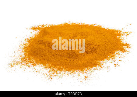 Curcuma powder with roots isolated on white - Stock Image