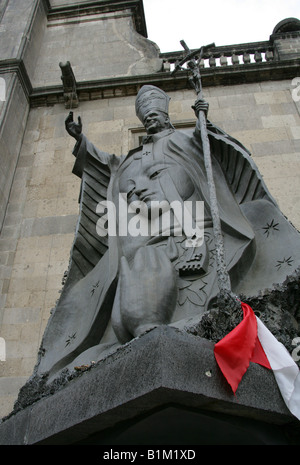 Statue of Papa Juan Pablo II Metropolitan Cathedral Zocalo Square Plaza de la Constitucion Mexico City Mexico - Stock Image