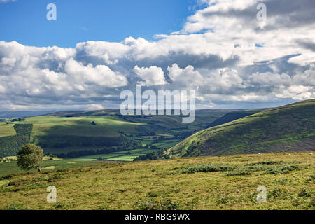 Radnorshire, UK. A view of the beautiful countryside on the border between England and Wales, near Knighton, Powys. - Stock Image