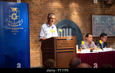 FILE IMAGE: HONG KONG, HONG KONG SAR,CHINA: AUGUST 14,2018.Victor Mallet on the podium introduces Andy Chan Ho-tin (R seated) The Hong Kong Immigration department has rejected a work visa application for Victor Mallet, Asia news editor for the Financial Times. It comes just months after he hosted a speech by a pro-independence activist Alan Chan Ho-tin FCC in the Chinese territory. Leader of the now banned National Party of Hong Kong, Andy Chan Ho-Tin spoke at the Foreign Correspondents Club in Central Hong Kong.  Jayne Russell/ Alamy Live News - Stock Image
