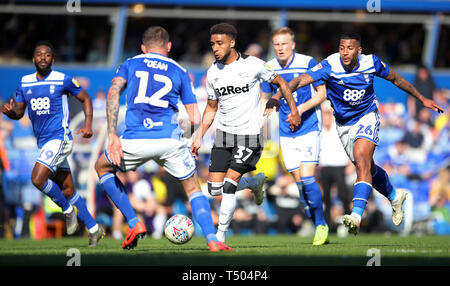 Derby County's Jayden Bogle (centre) in action during the Sky Bet Championship match at St Andrew's Trillion Trophy Stadium, Birmingham. - Stock Image