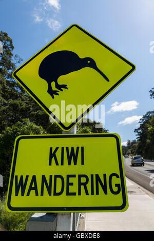 Kiwi warning road sign, Whakatane, North Island, New Zealand - Stock Image