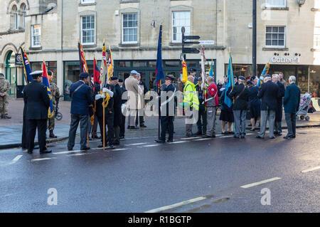 Trowbridge, Wiltshire, UK. 11th Nov, 2018. Standard bearers preparing for remembrance parade Credit Estelle Bowden/Alamy Live news - Stock Image