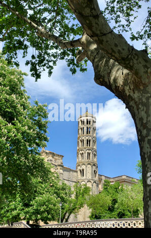 The 11th Century Tour Fenestrelle or Window Tower of the Cathedral of Saint Theodorit in Uzes, Gard, France.  Campanile or bell tower of the cathedral - Stock Image