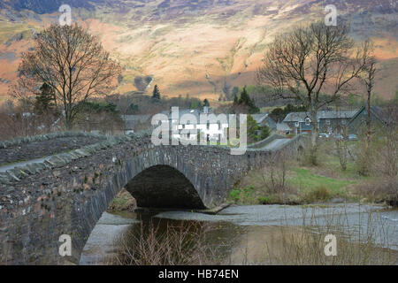 The bridge over the River Derwent at Grange in Borrowdale in the English Lake District, Cumbria. - Stock Image