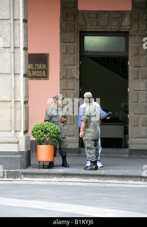 Military Guards at the National Presidential Palace, Zocalo Square, Plaza de la Constitucion, Mexico City, Mexico - Stock Image
