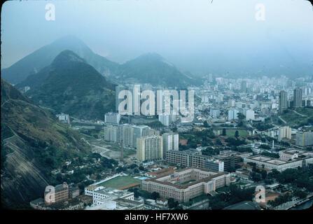 Partial view upon Rio de Janeiro, Brazil, seen from Sugarloaf (Pão de Açúcar). - Stock Image