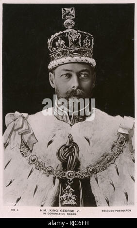 King George V (1865-1936) in his Coronation Robes - 22nd June 1911. - Stock Image