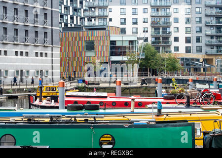 Coloured Pattern in Wooden Cladding at Clarence Dock Leeds West Yorkshire England - Stock Image