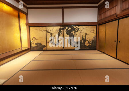 Shōin Room, and Old Plum by Kano Sansetsu , Edo period, The Metropolitan Museum of Art, Manhattan, New York USA - Stock Image