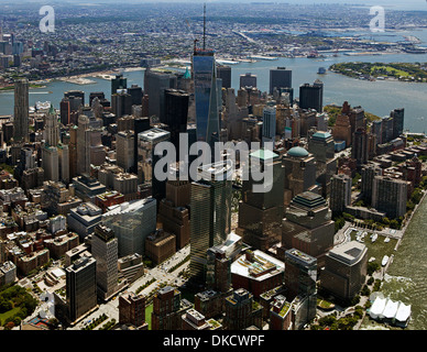 aerial photograph One World Trade Center, World Financial Center, Lower Manhattan, New York City - Stock Image