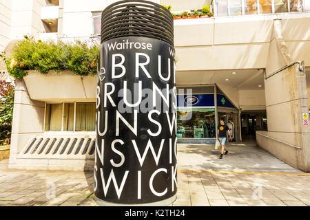 The Brunswick centre, The Brunswick shopping centre, The Brunswick centre London UK, The Brunswick centre shopping, The Brunswick centre entrance sign - Stock Image