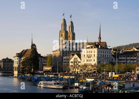 Switzerland Zuerich Grossmuentser kathedral river Limmat Zuerich Grossmuenster Limmat - Stock Image