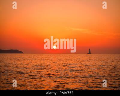 Sunset over San Antonio Bay, Ibiza, Balearic islands, spain - Stock Image