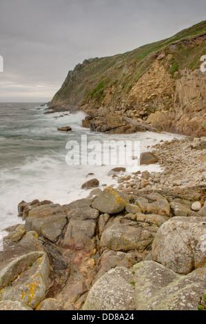 Porth Nanven in stormy weather - incoming tide - Stock Image