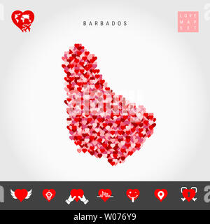 I Love Barbados. Red and Pink Hearts Pattern Map of Barbados Isolated on Grey Background. Love Icon Set. - Stock Image