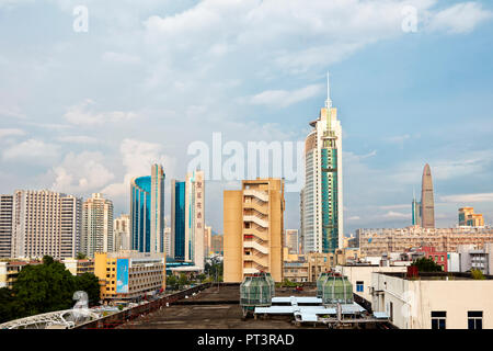 High-rise buildings in Futian District. Shenzhen, Guangdong Province, China. - Stock Image