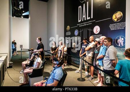 St. Saint Petersburg Florida Salvador Dali Museum surrealist art interior virtual reality line queue - Stock Image