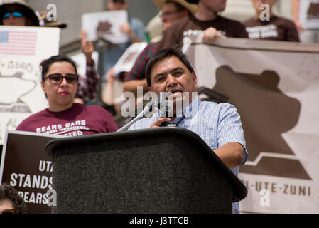 Salt Lake City - May 6, 2017: Native leaders speak to supporters at rally for Bears Ears National Monument at the - Stock Image