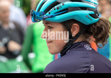 Profile portrait of rider at the start of the 2018 Ovo Women's Tour - Stock Image