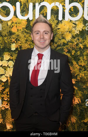 Celebrities attend social and dating app, Bumble, Domino Effect Valentine's Day party  Featuring: John Galea Where: London, United Kingdom When: 14 Feb 2019 Credit: Phil Lewis/WENN.com - Stock Image