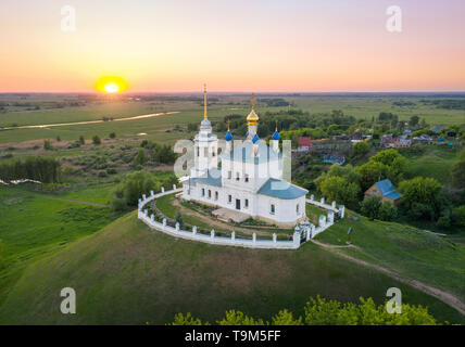 Yepifan, Tula oblast, Russia. Aerial view of Church of the Assumption located on the mound which is the burial place of warriors killed in the Battle  - Stock Image