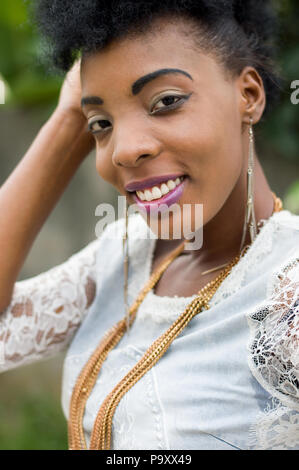 Portrait beautiful african woman smiling. - Stock Image