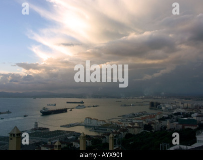 Sunset over The Bay of Gibraltar Queensway Wharf - Stock Image