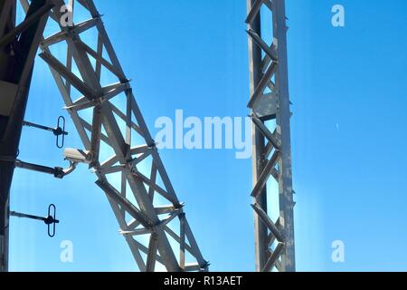Barcelona, Spain, October 2018. CCTV camera high in the sky on girders supporting the port cable car. - Stock Image