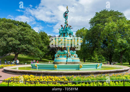 The Ross Fountain in West Princes Street Gardens, Edinburgh, Scotland, UK. Sculpted by Jean-Baptiste Jules Klagmann, installed 1872, restored 2018. - Stock Image
