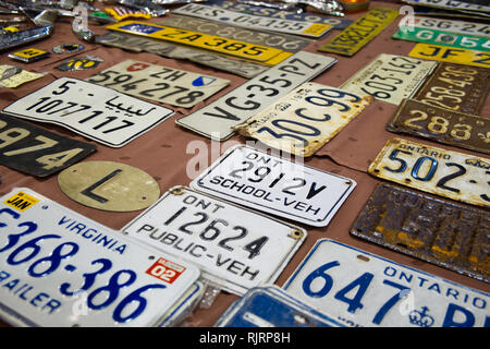 Car registration plates. Retro Málaga 2019. Spain. - Stock Image