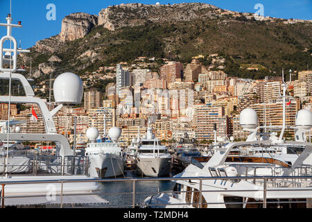 View of the Harbor of Monaco Ville with its Luxary Ships in the French Reviera - Stock Image