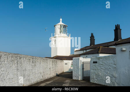 The historic Lizard Lighthouse in Lizard, Cornwall stands on the most southerly point on the English mainland. It is now a visitor centre operated by  - Stock Image