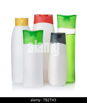 Group of blank plastic cosmetic bottles isolated on white - Stock Image